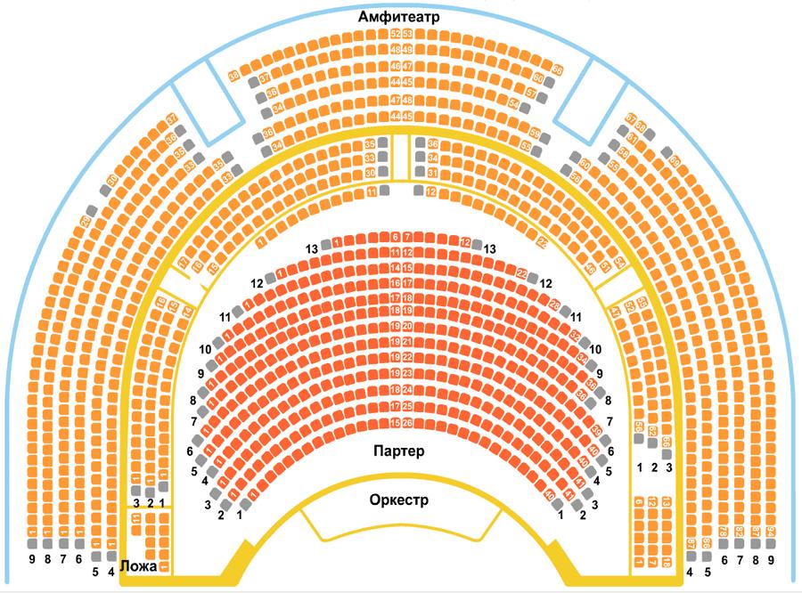 Театр Сатиры Главный зал схема