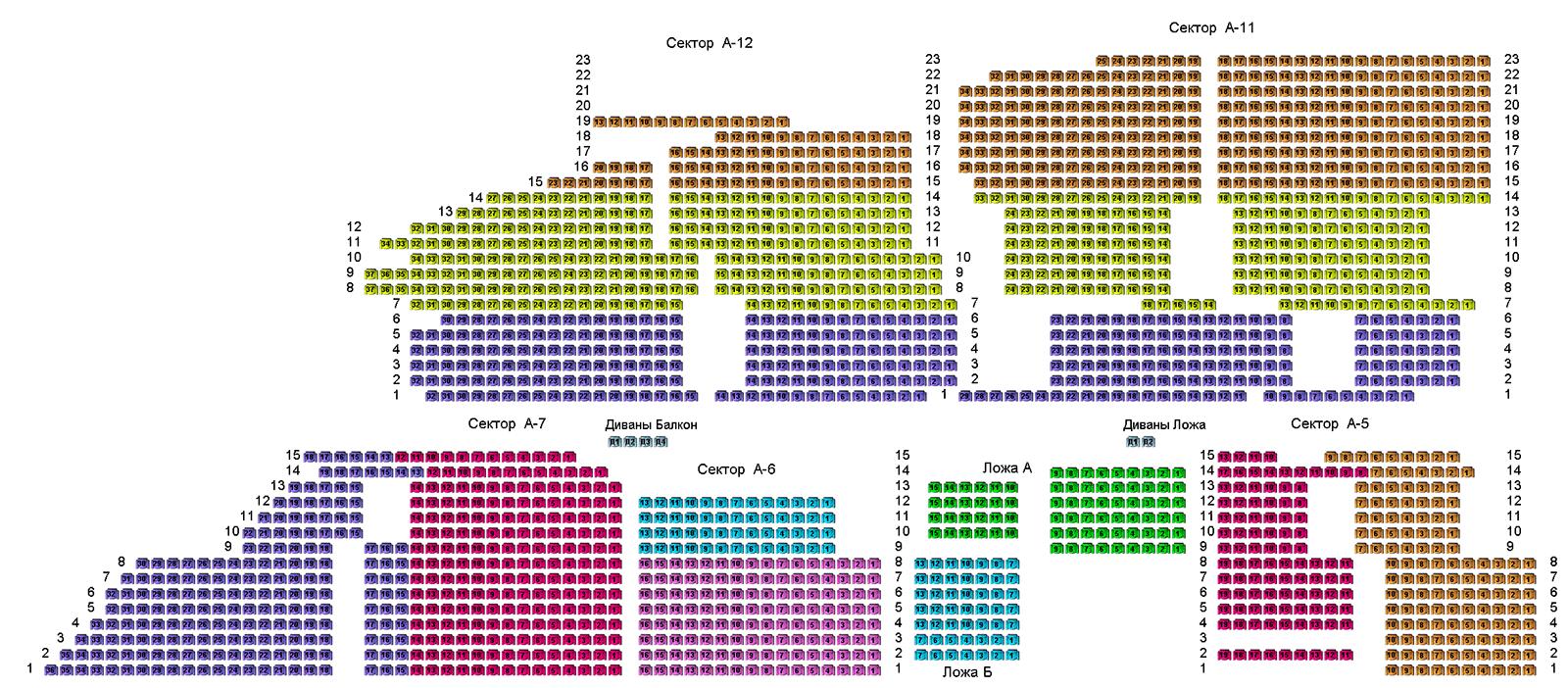 Схема лужников по секторам с местами